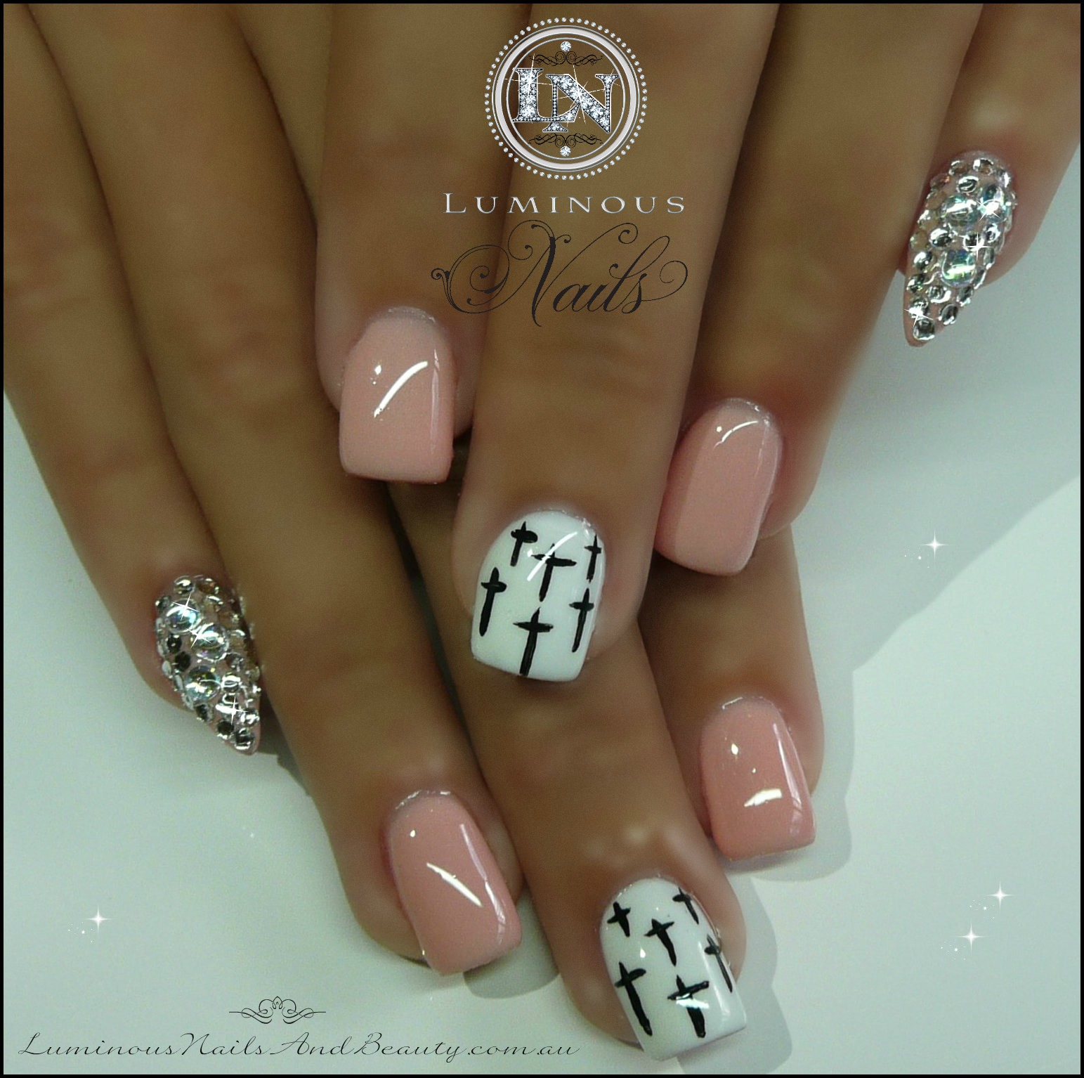Acrylic nail designs pointy pink : Nude pink nails with crystal pointy pinkie