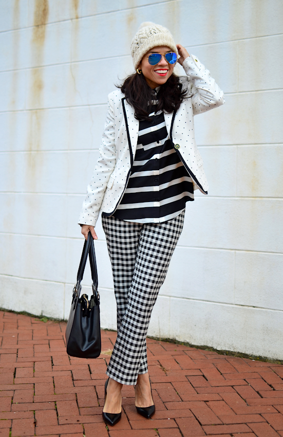 Plaid pants street style outfit