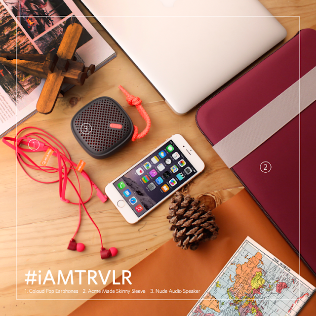 Free-spirited, always out and about. #iAMTRVLR  Bundle inclusions: MacBook Air + Coloud Pop, ACME Made Skinny Sleeve, and  Nude Audio Speakers.