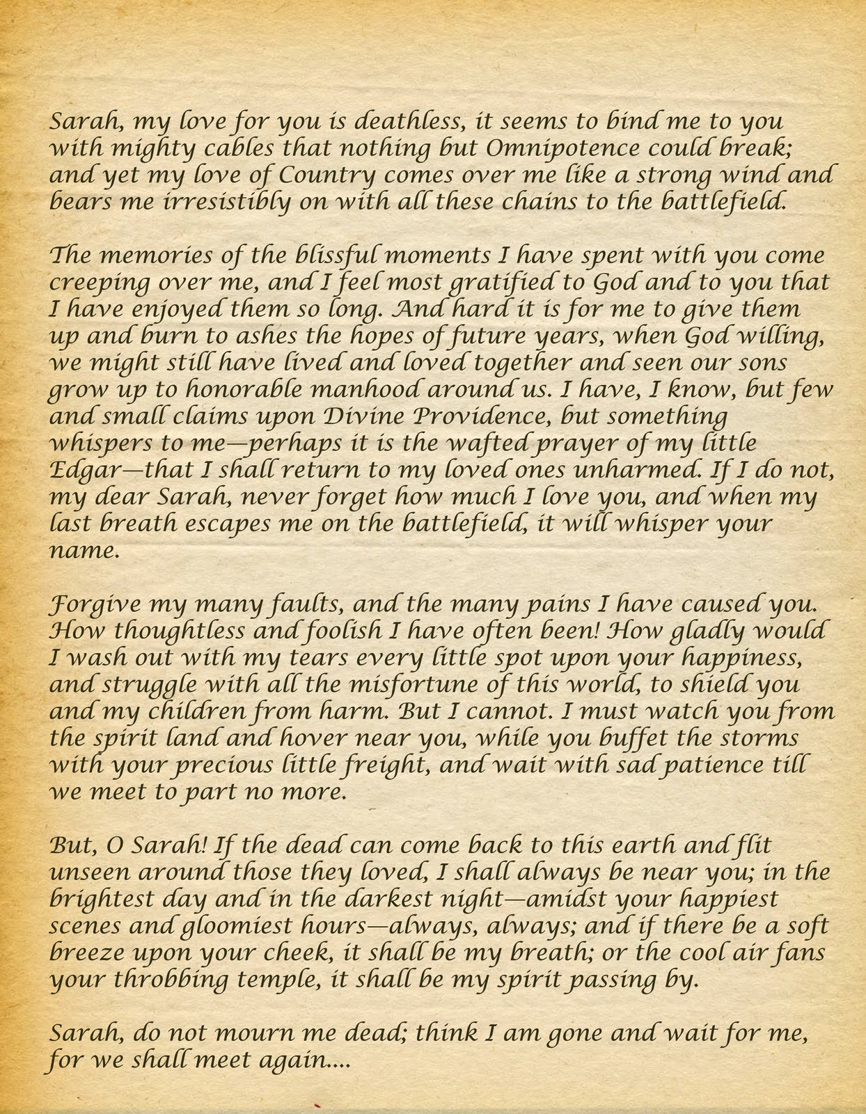 sullivan ballou letter Appendix b: sullivan ballou to sarah ballou, july 14, 1861 july 14, 1861 camp clark, washington my very dear sarah: the indications are very strong that we shall move in a few days—perhaps tomorrow.
