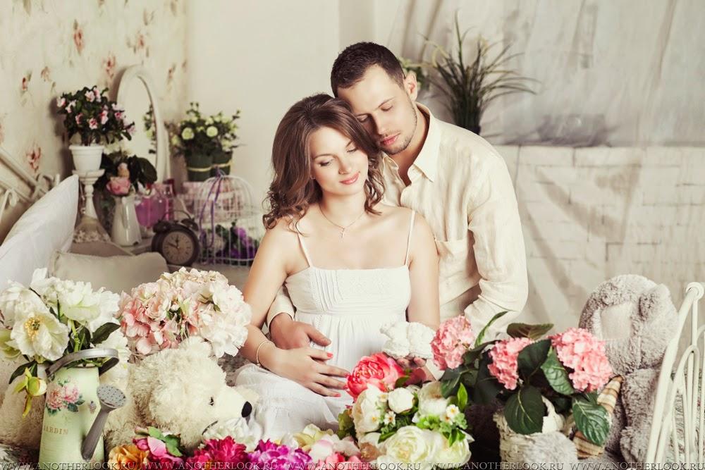 фотосессия беременность в цветах