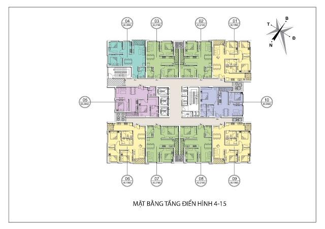 Mặt bằng căn hộ 4-15 tòa B dự án Valencia Garden