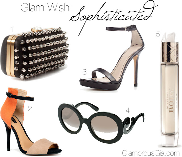 Sophisticated Glam Wish list: 1. Studded box bag at EUR 69.95 at ZARA | 2. Two tone basic sandal EUR 39.95 at ZARA | 3. Thin strap sandal EUR 69.95 at ZARA | Prada baroque arm sunglasses EUR 291.86 at ASOS | Burberry Body eau de parfum EUR 49.50 at Feelunique or Ici Paris XL