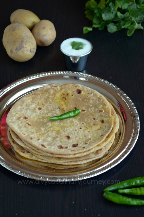 Indian flat bread stuffed with spicy potato filling