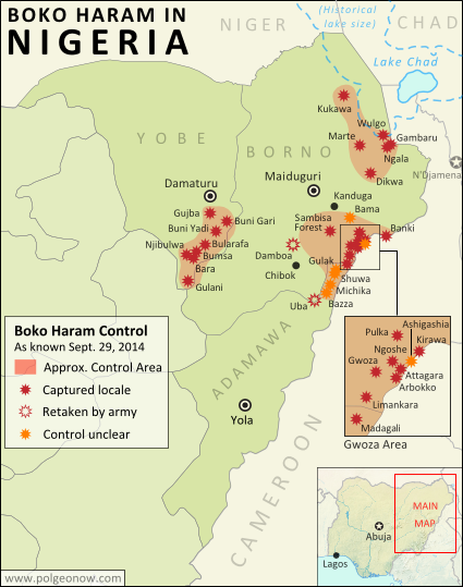 Detailed map of Boko Haram territorial control in its war with Nigeria, marking and labeling each town reportedly under the group's control in Borno, Yobe, and Adamawa states. Includes Damboa, Buni Yadi, Madagali, Gwoza, Gujba, Gulak, Bama, Gulani, Shuwa, Marte, Kukawa, Michika, Dikwa, Bularafa, Bazza, Gambaru Ngala, Buni Gari, Banki, Bara, Pulka, Bumsa, Ashgashiya, Limankara, Njibulwa and more.