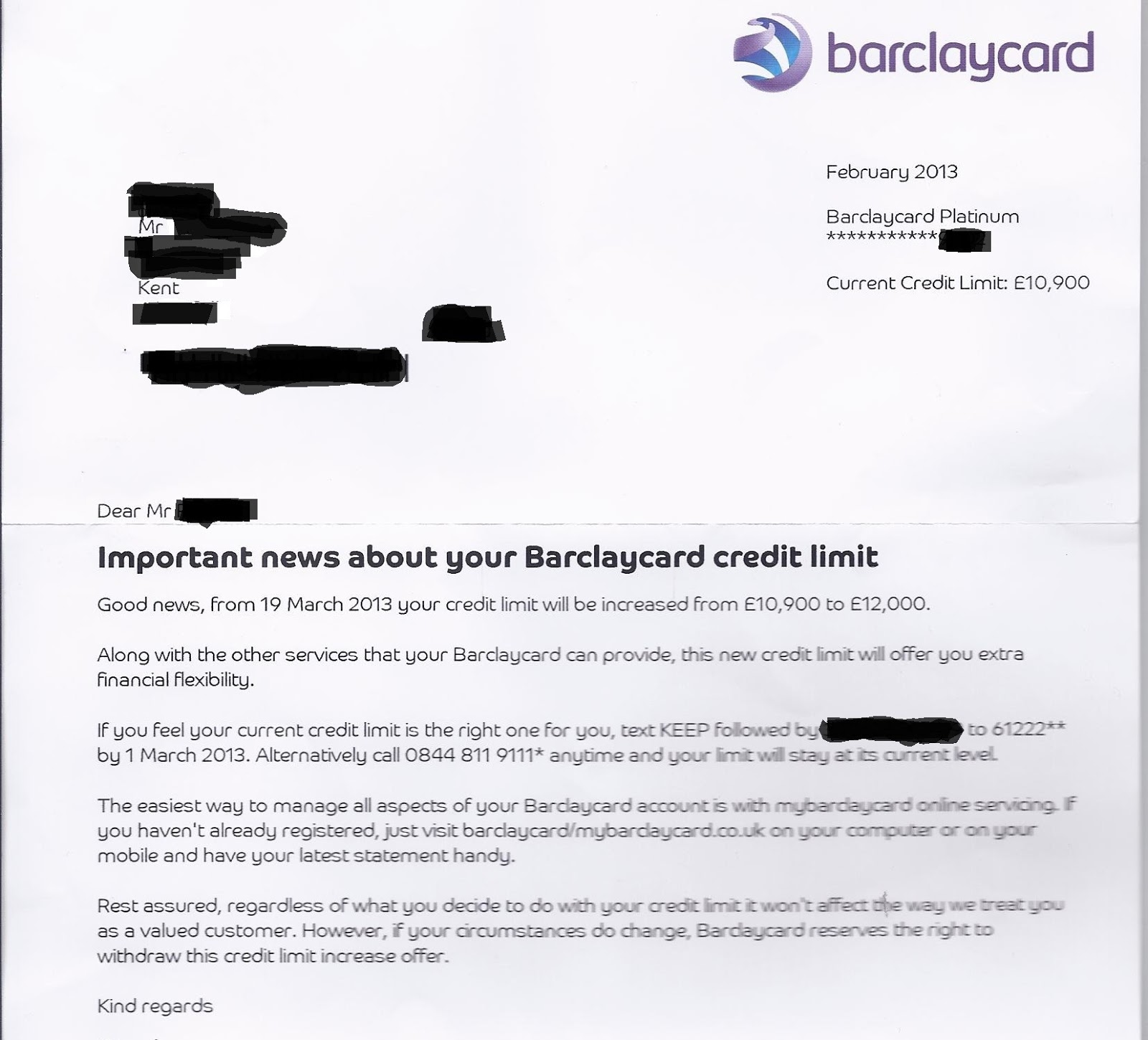 requesting a credit increase