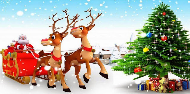 merry christmas pics deer santa and christmas tree