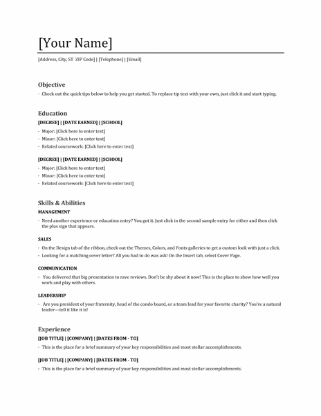 simple resume template word 3200