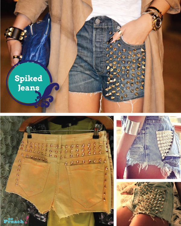 spikes e tachas - shorts jeans diy - do it yourself - faça você mesmo