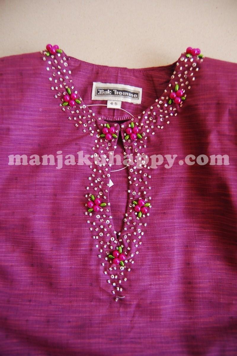 Exclusive Baju Kurung Klasik Pahang dengan jahitan manik di leher Size