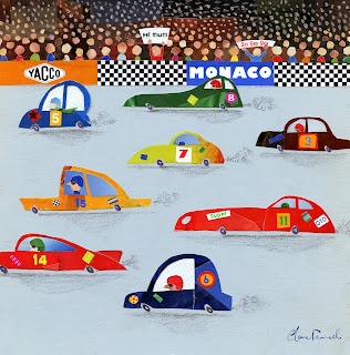 Happy Spaces Wall Art - Happy Spaces Racing Car Canvas Print - shown in close up.