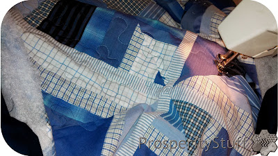 ProsperityStuff Free Motion Quilting on Dress Shirt Quilt