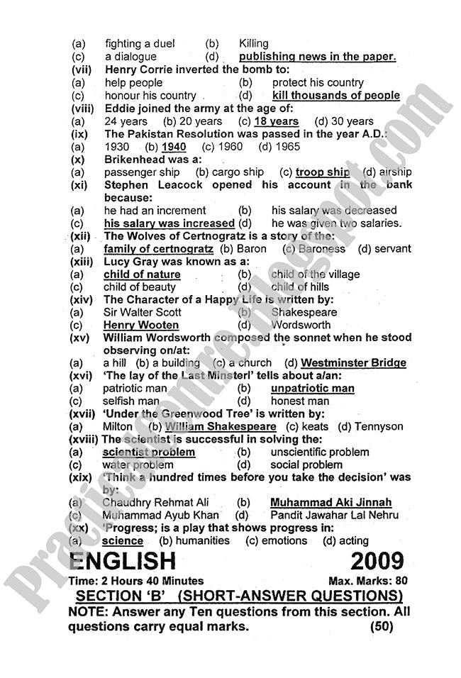 English-2009-five-year-paper-class-XI