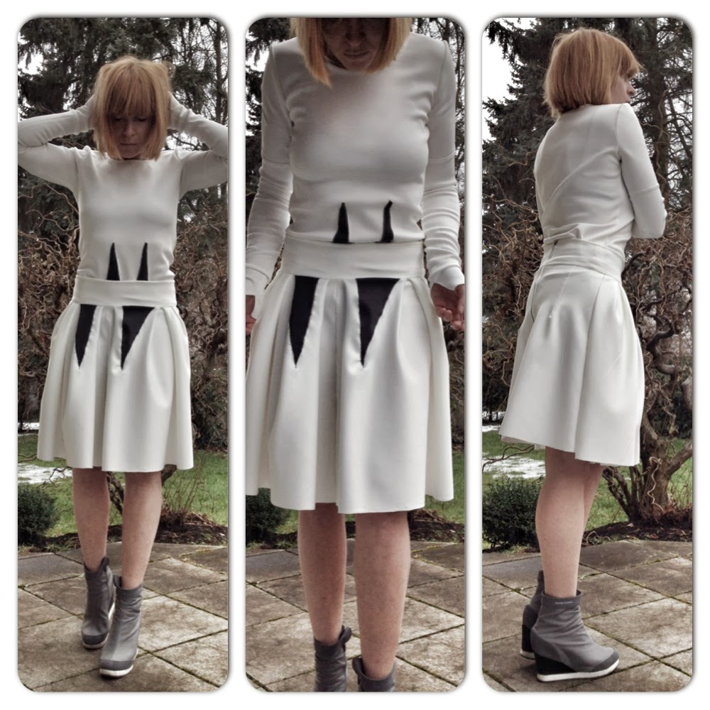 shirt + skirt white scuba jersey