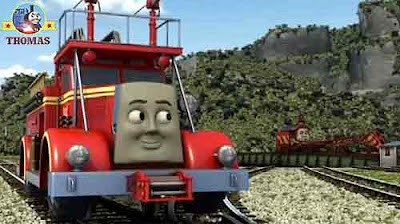 Thomas the tank engine Rocky the crane told Flynn the red fire truck you ought to hurry wooden shack