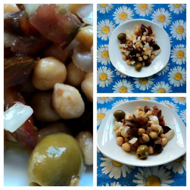 Ensalada de garbanzos, langostinos y hortalizas