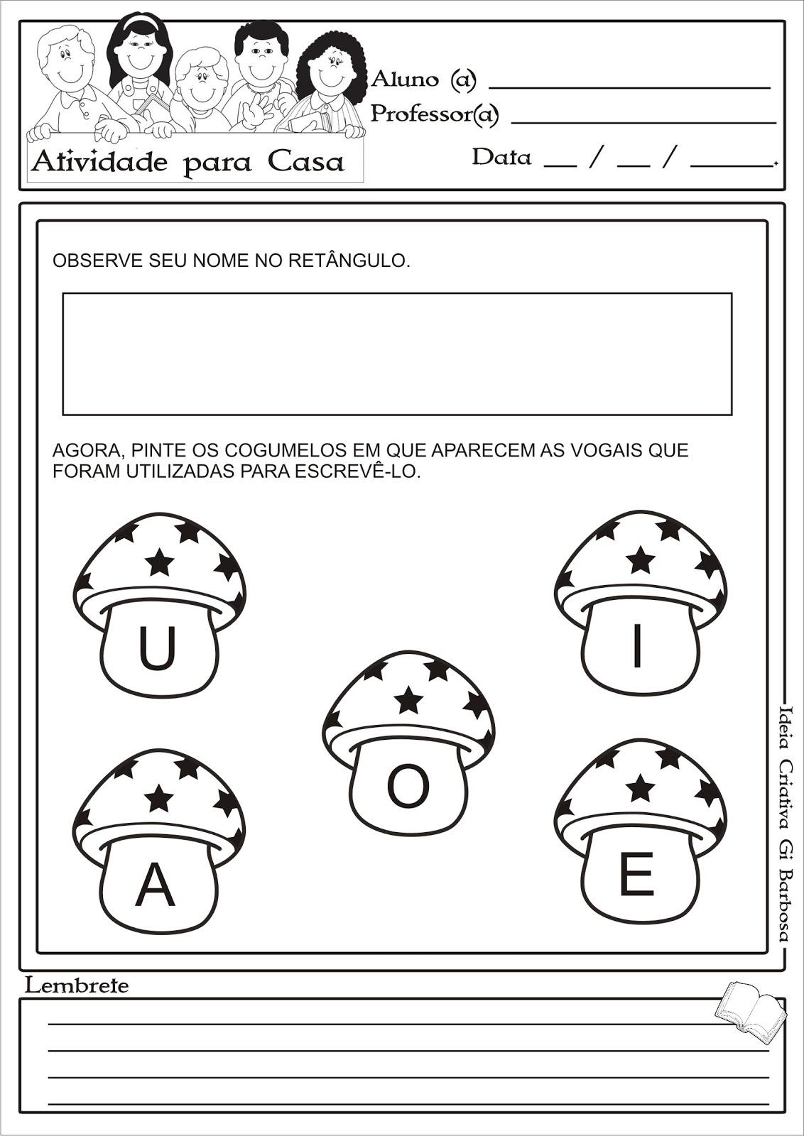 Atividade para casa Vogais Projeto Identidade e Autonomia