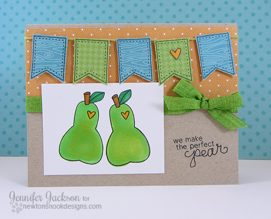 Perfect Pear fruit card by Jennifer Jackson for Newton's Nook Designs | Sweet Summer Stamp Set