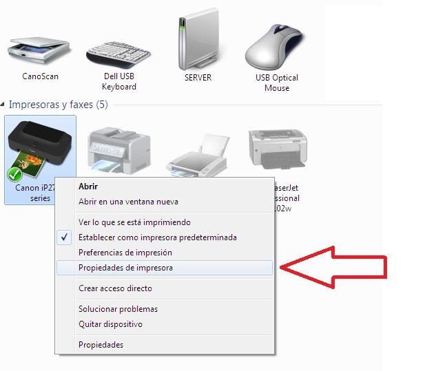 propiedades de impresoras en windows 7 para compartir impresora
