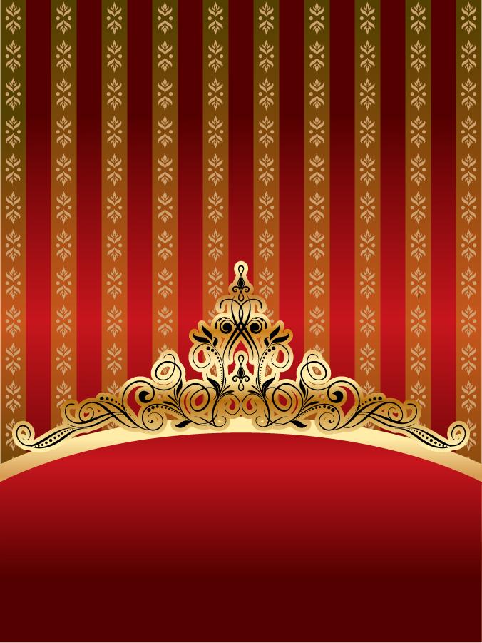 華やかな金色の王冠パターンの背景 golden ornate pattern vector イラスト素材