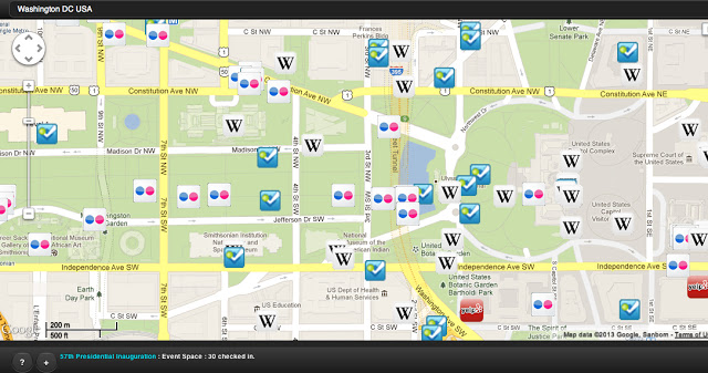 Social Media map at 2013 Inauguration in Washington DC.  Over 300 Foursquare checkins.