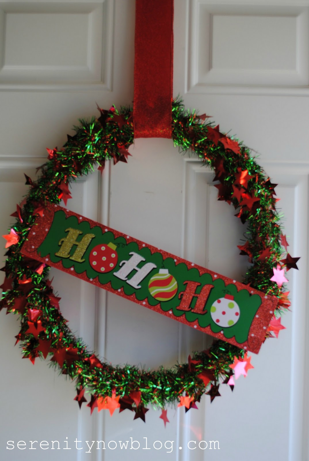 Serenity now christmas tinsel garland wreath dollar tree