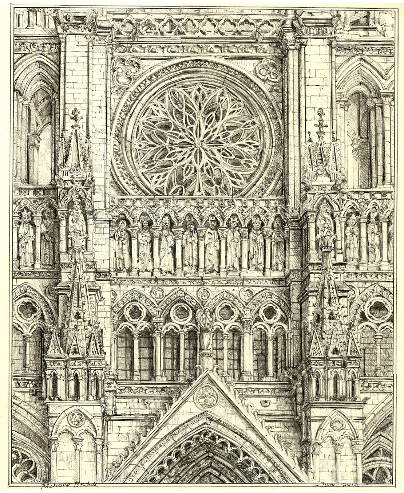 Cathedral Drawing Drawing Amiens Cathedral