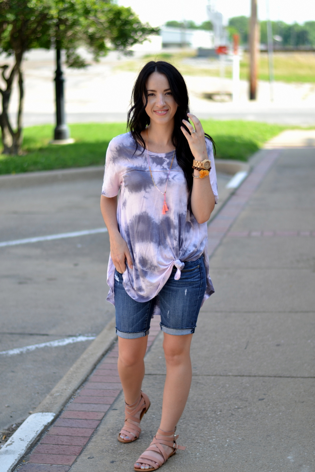 Casual summer tie dye tee and tassels