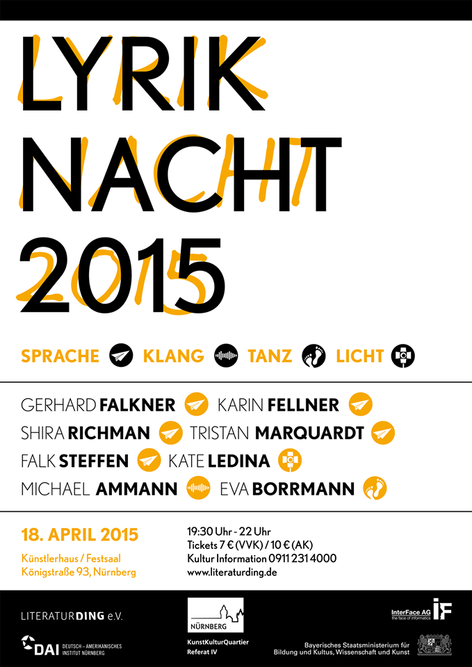 Plakat zur Nürnberger Lyriknacht 2015
