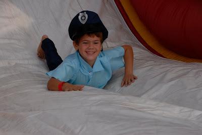 grandson down the slide