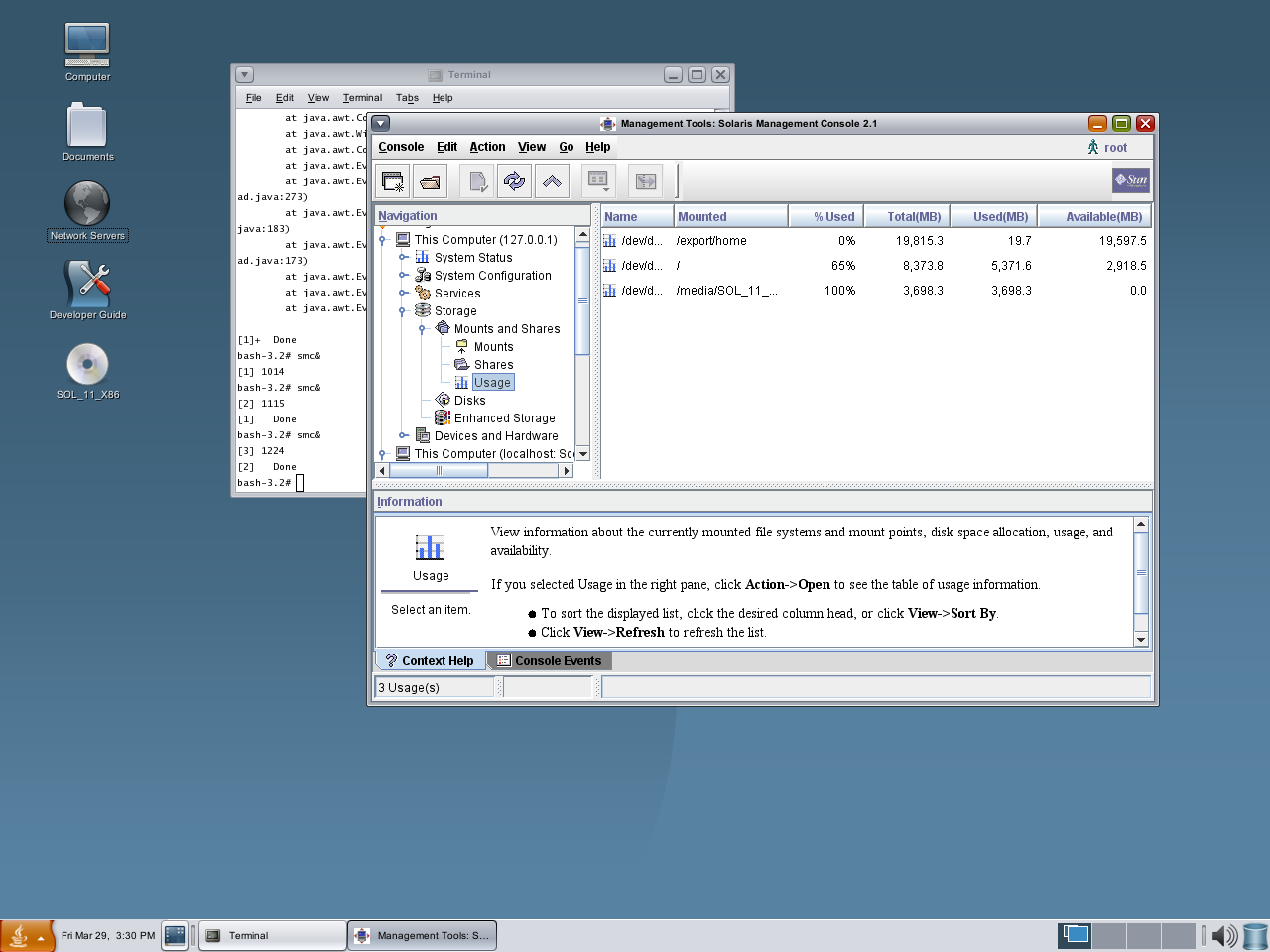 Disk usage monitiroing in Solaris | Sun Solaris 11. OS Administration
