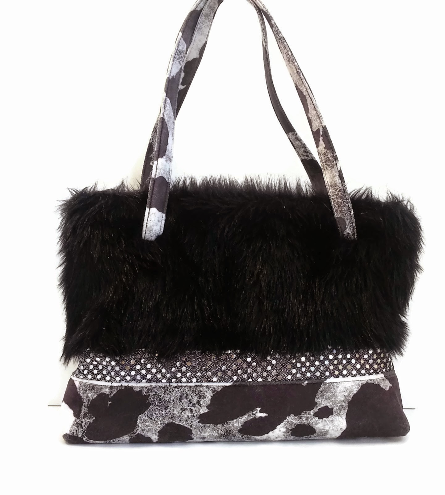 Large Faux Fur and Sequin Zipper Tote in My Faux Fur Frenzy Shop