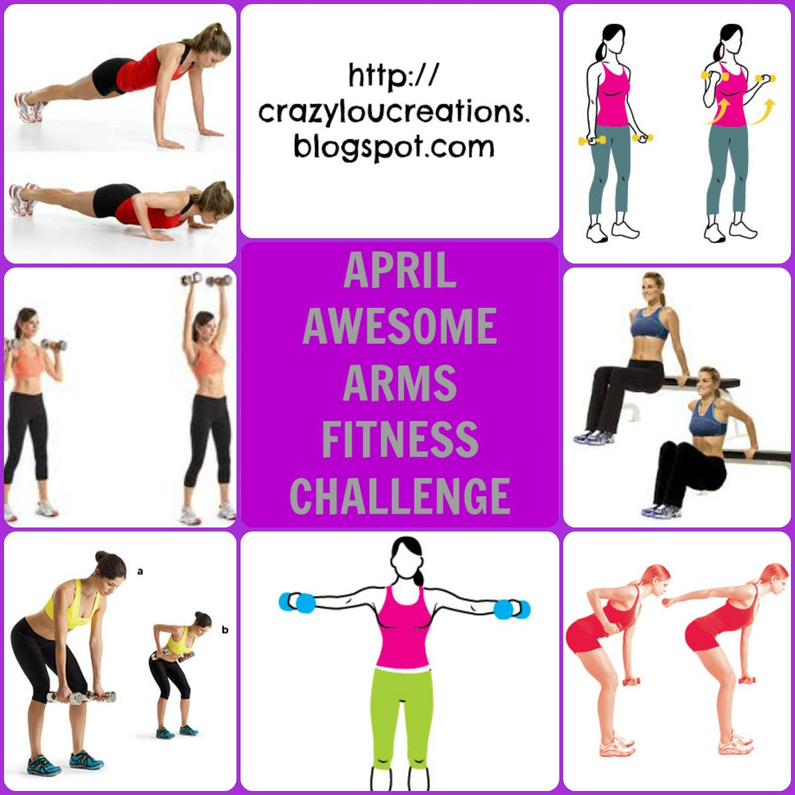 Awesome April Arms Fitness Challege at crazyloucreations.blogspot.com