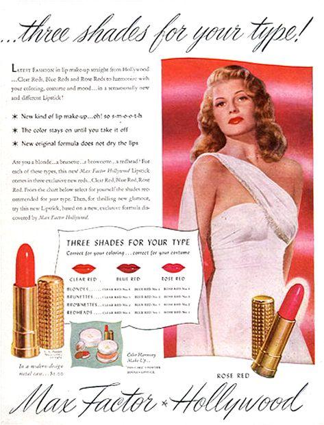 rita hayworth max factor color vintage makeup ad