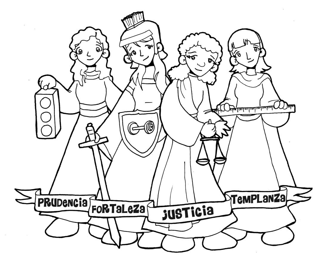 Worksheet. Dibujos para catequesis VIRTUDES CARDINALES