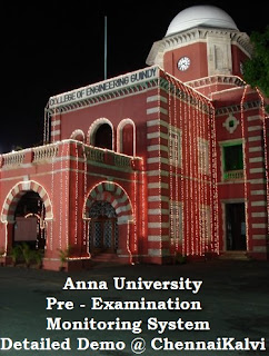 Anna University : Pre Examination Monitoring System - Detailed Demo Only @ ChennaiKalvi