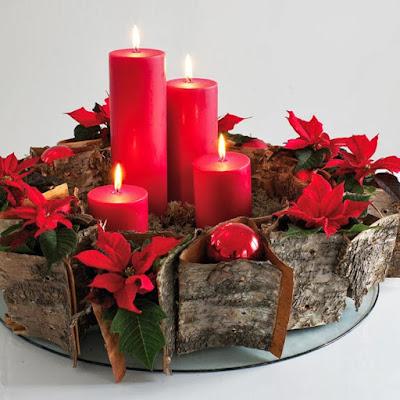 Decoración Navideña: Centros de mesa en color rojo
