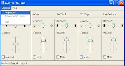 Setting Master Volume Take Mic Windows XP