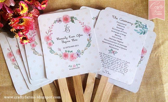 Wedding card malaysia crafty farms handmade church ceremony church ceremony floral and polka dots programme fan stopboris Gallery