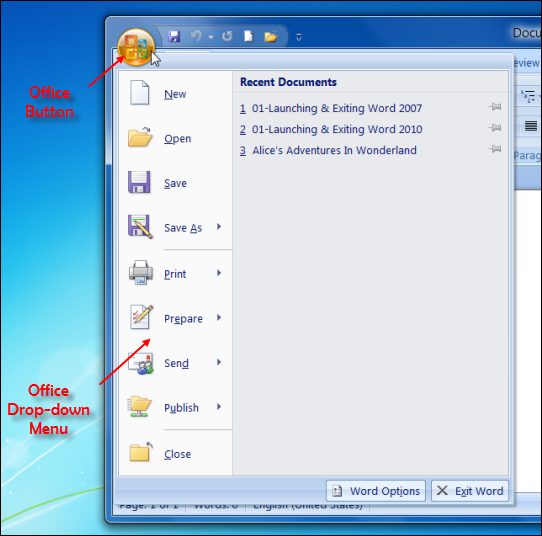 Office Button of MS Word 2007 and its Drop-down Menu