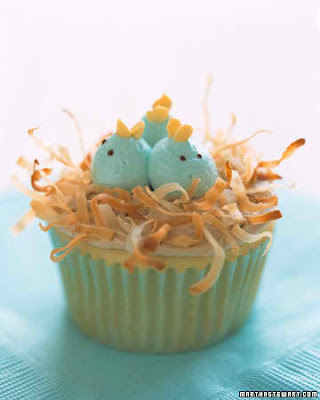 fun easter food, birdie cupcakes, martha stewart