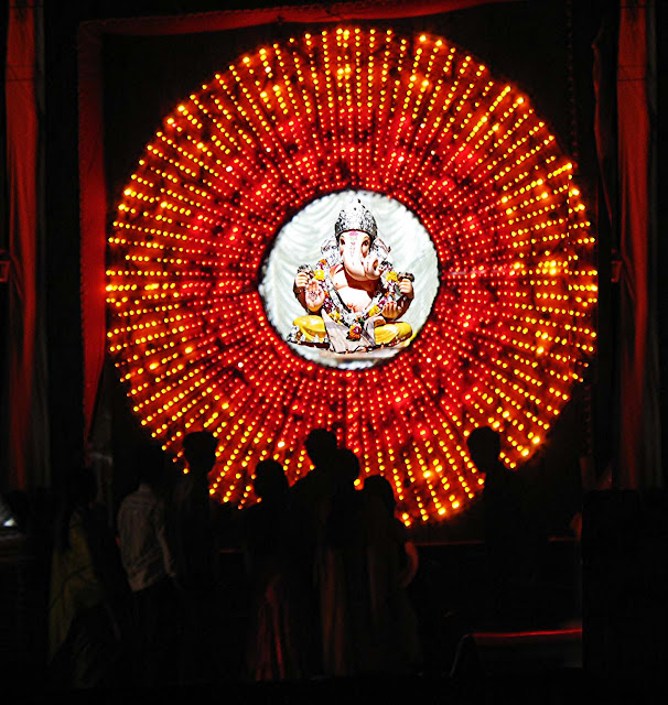 colourful lights at ganesh pandal