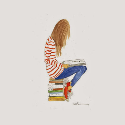 Girl with books and stripes from Illustrations by Aimee