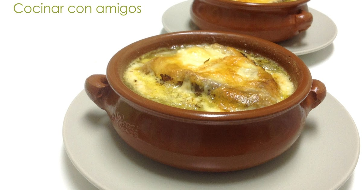 Sopa de cebolla gratinada cocinar con amigos Cocinar con 5 ingredientes