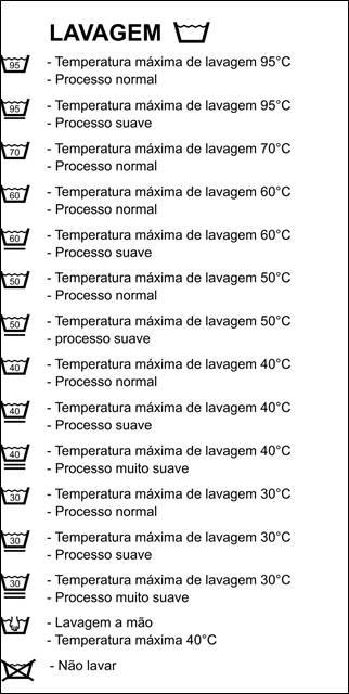 Simbolos de lavagem de roupas