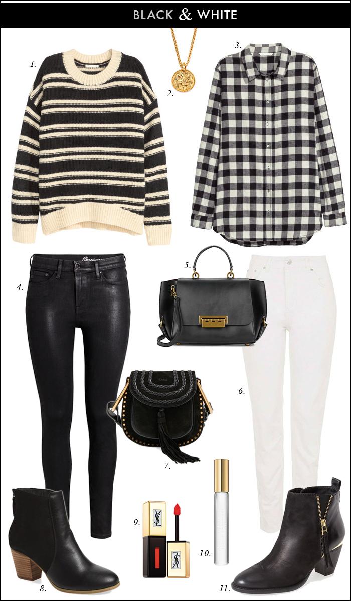 black white plaid stripes pattern mixing booties sole society chloe bag