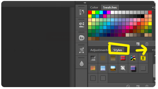 Photoshop Styles Menu