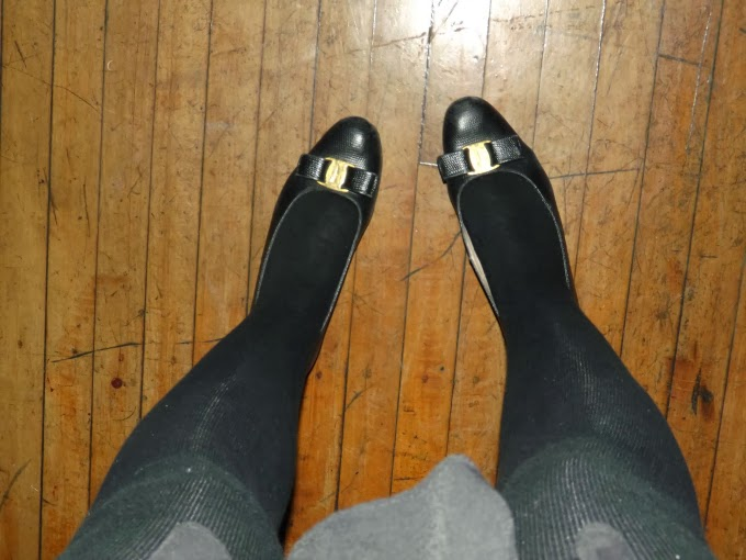 vintage Salvatore Ferragamo shoes, flats, Vara, black, snakeskin, Etsy purchased, bought, leg shot, A Coin For the Well