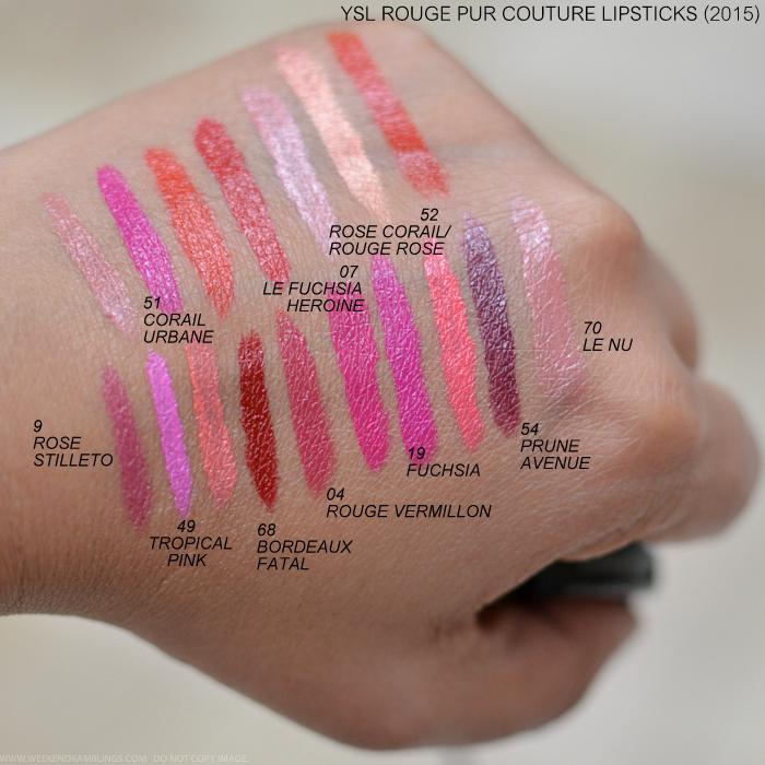 Yves Saint Laurent Rouge Couture Satin Radiance Lipsticks 2015 Swatches 9 Rose Stilleto 49 Tropical Pink 68 Bordeaux Fatal 04 Rouge Vermillon 19 Fuchsia 54 Prune Avenue 70 Le Nu