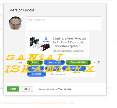 santai iskandarX, google plus, interface, design, dah, tukar